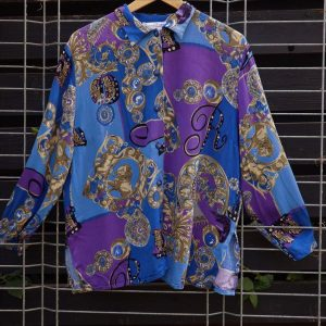 Camasa vintage larga bumbac moale albastru mov nasturi bijuterie