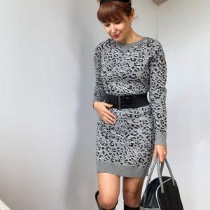 Rochie scurta mulata pulover animal print gri second hand